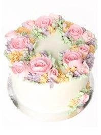 Торт кремовые цветы