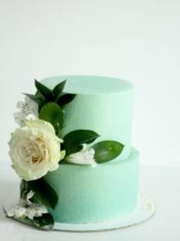 Свадебный торт  без мастики «Мятный»