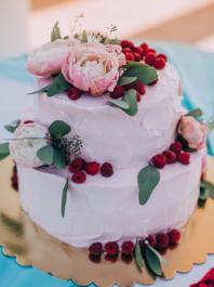 Свадебный торт Розовый с цветами