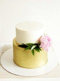 Золотой свадебный торт без мастики